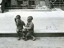 Untitled, New York (two boys sitting on sidewalk)