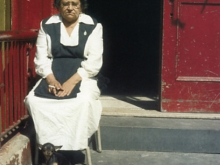 Untitled, New York (Woman in red doorway with dog), 1974