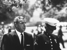 Joe Di Maggio and Joe Di Maggio Jr. at Marilyn Monroe´s funeral, 1962