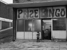 Chris Killip, Child Outside Bingo Parlor, West End, Newcastle 1975