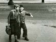 Untitled, New York (two boys, one with suspenders and bag)